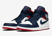 NEW Nike Air Jordan 1 Mid SE Olympic USA Navy Men's 7 Red White AJ1 852542-104