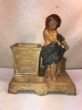 Vtg 40's? G.&St. Pottery Art Girl Bonnet Planter Vase Pen Q-tip Organizer Holder