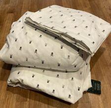 Ralph Lauren Skull Bedding Set Full cotton sheet fitted flat cases white black