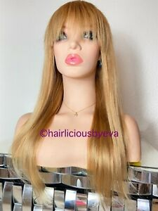 Human Hair Wig Straight With Bangs Golden Blonde 22 Inch Long Color 27