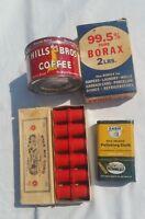 COLLECTIBLE VINTAGE COFFEE CAN BORAX POLISHING CLOTH THREAD SPOOLS BUNDLE LOT