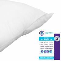 Two Piece (2) Queen Size 100% Cotton Pillow Protector: 200 Thread Count Zippered
