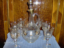 ROMANIAN DECANTER GOLD TRIM ETCHED FLOWERS 6 GLASSES  BEAUTIFUL DECOR  V-G COND.