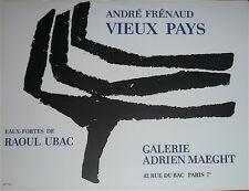 Raoul Ubac Affiche Originale Lithographie Art Abstrait Galerie Maeght Frénaud