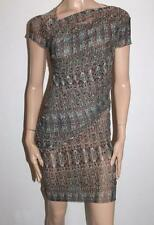 OF TWO MINDS Designer Aqua Multi Grid Body Wrap Dress Size S BNWT #SZ110