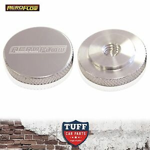 """Aeroflow Billet Polished Low Profile Air Filter Cleaner Nut 1/4"""" UNC Female New"""