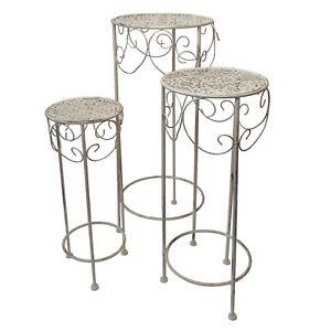 3tlg. Beistelltisch Blumenhocker Blumentisch-Set H70/60/50cm Metall Vintage-Look