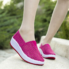 Women Mesh Breathable Thick Platform Sneakers Shake Shoes Slip On Casual Athleic