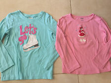 2 girls GYMBOREE SHIRTS LOT winter snow ICE FIGURE SKATING L/S fancy pink size 5