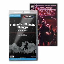"""100 BCW Current Modern Comic Bags/Sleeves Poly 6 7/8"""" x 10 1/2"""" with 1.5"""" Flap"""