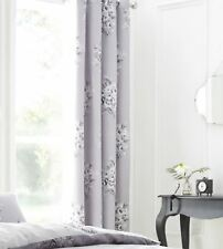 "FLORAL FLOWER BOUQUET GREY WHITE 66X72"" 168X183CM LINED ANNEAU TOP CURTAINS"