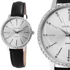Damen Armbanduhr Silber/Schwarz Crystal Kunstlederarmband 1900078 von Excellanc