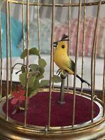 Mechanical Singing Bird Cage Brass Single Birdie Chirps Working Condt Original