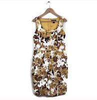 St. John Dress 8 Black Label Yellow Brown Floral Print Sheath Women's Cotton