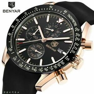 BENYAR 5140 Luxury Watches Chronograph Date Men Quartz Wrist Watch Rubber Strap