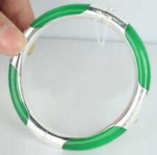 Fashion Emerald Green Jade White Gold Plated Clasp Bangle Bracelet