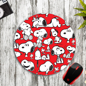 SNOOPY & WOODSTOCK COLLAGE RED ROUND NEOPRENE MOUSE PAD MAT HOME SCHOOL OFFICE