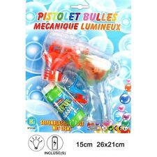 PISTOLET A BULLES LUMINEUX MECANIQUE 14 x 14 CM + SAVON JOUET