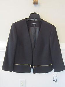 NINE WEST Black Blazer Jacket Gold Zipper Accents NWT $119 NEW Size 8