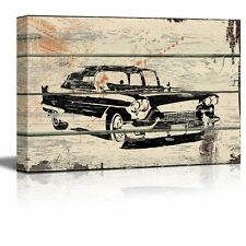 Classic Car Pontiac Cadillac Artwork - Rustic Canvas Wall Art Home Decor - 12x18