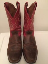 NEW! NWOB ARIAT Brown and Red Leather Cowboy Boots Child sz. 5 OR Women's sz. 7
