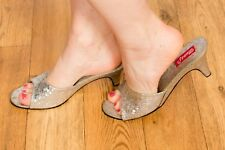 rare vintage open toe silver holographic style pattern mules 60s 70s pinup