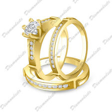Ring Set 14K Yellow Gold Finish His And Her Matching Engagement Wedding Trio
