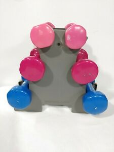 Women Arm Dumbbell Set 6 Hand Weights With Stand 2 3 5 Pounds Strength Training