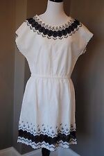 NWT J Crew Embroidered Scallop Dress in IVORY NAVY Sz 4 Small $138 A7793