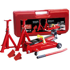 Wolf 2 Ton Car Garage Floor Trolley Jack Axle Stands Lifting Kit