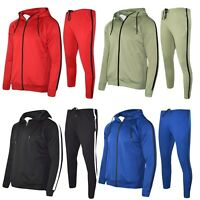 Mens Polyester Tracksuit Gym King Style Slim Fit Joggers Bottom Zip Hoodie Panel