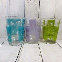 6 Vintage Green Teal Purple Flower Cocktail Old Fashioned Glasses Barware MCM