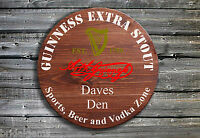 Personalised Guinness Barrel End Style Wooden Pub Sign - Hand Crafted in Ireland
