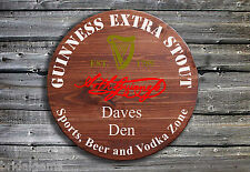 Personalised Guinness Barrel End Wooden Pub Sign ☘ Hand Crafted ☘