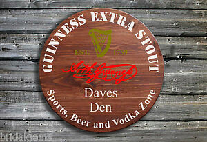 Personalised Guinness Barrel End Style Wooden Pub Sign - Guinness Drinkers Gift