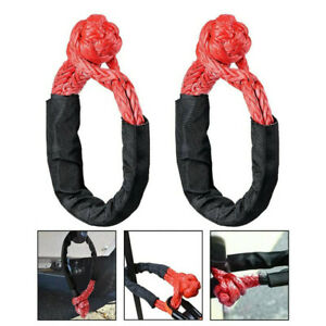 "2x 1/2"" Red Shackle Rope Tow Recovery Strap Soft 38,000LBs WLL 7.5Tons Synthetic"