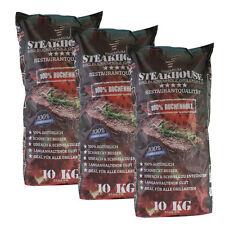 STEAKHOUSE Grillkohle 3 Säcke á 10 kg = 30 kg BBQ Profi-Holzkohle aus 100% Buche