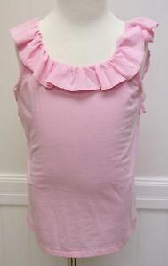 Ralph Lauren Girls Pink Soft Cotton Poly Shirt 6X Ruffle MSRP 30 sleeveless