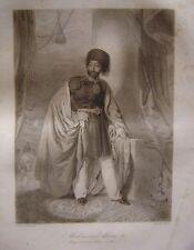 Grande gravure Portrait de MAHMOUD KHAN II Empereur des Turcs 1839