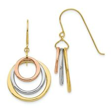 Tri-color Triple Circle Dangle Earrings in 14k Gold