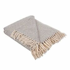 Dii Rustic Farmhouse Cotton Diamond Blanket Throw with Fringe for Chair, Couch,