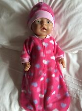 "Doll clothes - Sleeping Bag & hat to fit 17"" Baby Born ~ Pink. Hearts"