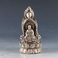 Chinese Silver Copper Hand Carved Buddha Statue W Ming Dynasty Xuande Mark Zj147