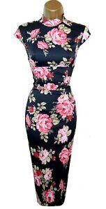 KAREN MILLEN ORIENTAL BLACK FLORAL STRETCH SATIN PENCIL DRESS UK 12