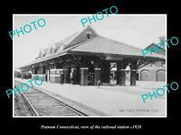 OLD LARGE HISTORIC PHOTO OF PUTNAM CONNECTICUT, THE RAILROAD DEPOT c1920