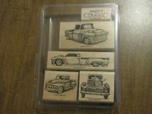 STAMPIN UP CLASSIC PICKUPS RUBBER STAMP SET 3 NEW 2 LIGHTLY USED