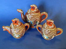 Satsuma Dragon Tea Set - Brown With Hand Painted Immortals - Moriage - Japan