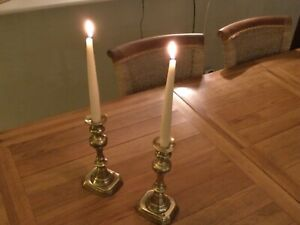 """Pair Antique solid brass candlesticks with genuine """"patina""""of old Christmas look"""