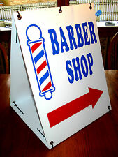 BARBER SHOP DIRECTIONAL SIGN WITH ARROW 2-Sided  Sandwich Board Sign Kit NEW