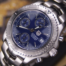 AUTHENTIC TAG HEUER LINK CHRONOGRAPH DATE BLUE DIAL AUTOMATIC MENS WRIST WATCH